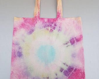 Coloured tie dye cotton tote bag.