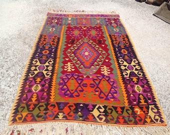 "Colorful Kilim, Vintage Turkish rug, rugs, 61"" x 101"", bright colored area rug, vintage rug, bohemian rug, eccentric rug, rugs, purple, 479"