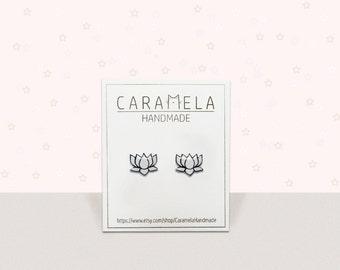 Lotus flower stud earrings Lotus earrings Flower earrings Black and white stud earrings Flower drawing earrings