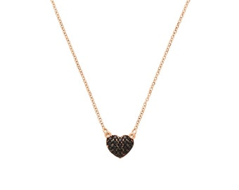 14kt Rose Gold Heart Necklace with black cubic zirconia