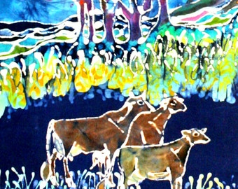 Three Cows in Spring Pasture (detail) - batik print from original