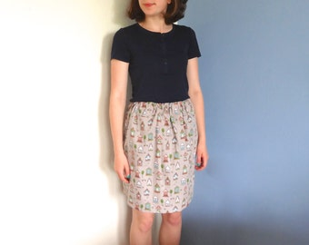 Kitsch skirt with elastic waist, knee length skirt in cute cotton print, quirky skirt, quirky village print, gifts for her