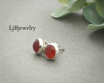 Silver Carnelian Earrings, Stud Earrings, Carnelian Earrings, Gemstone Earrings, Metalsmith Jewelry, Silver Jewelry, Handmade Jewelry, Red