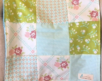 Baby Deckchen Schmusetuch Aqua Tiffany blau Rosen grün Patchwork Minky So weich!  Kindergarten-Kinderwagen-Dusche-Geschenk OOAK