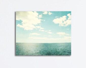 """Ocean Canvas Wrap - light blue seascape photography canvas print beach landscape sea white pale blue wall art photograph - """"Sea of Reverie"""""""