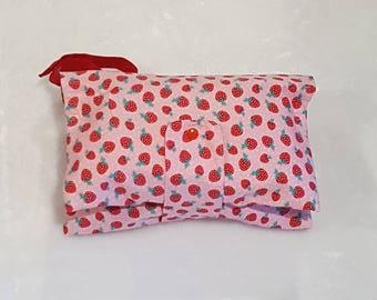 Nappy Wallet - Nappy Clutch - Strawberry Nappy Wallet - Diaper Clutch - Diaper Wallet
