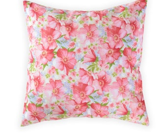 Red Flowers Pillow Cover - Shabby Chic Pillow Cover - Floral Pillow