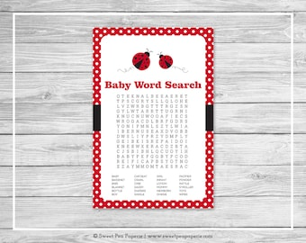 Ladybug Baby Shower Baby Word Search Game - Printable Baby Shower Word Search Game - Ladybug Baby Shower - Baby Word Search Game - SP140