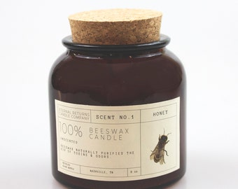 Unscented Apothecary Beeswax Candle