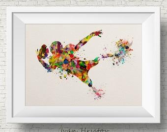 American Football Player- Abstract Fine Art Print Watercolor Hero Sport Ball Colorful Home decor Wall art