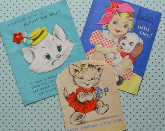 des années 1930 Vintage anniversaire cartes chats pour enfants chien petite fille
