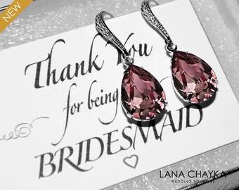 Antique Pink Crystal Earrings Purple Dark Pink Rhinestone Earrings Swarovski Teardrop Pink Silver Earrings Bridesmaids Wedding Pink Jewelry