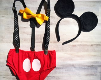 Mouse Cake Smash Outfit / Mouse Ears Smash Cake Set / Mouse Birthday Outfit Baby Boy / Mouse Suspenders Outfit