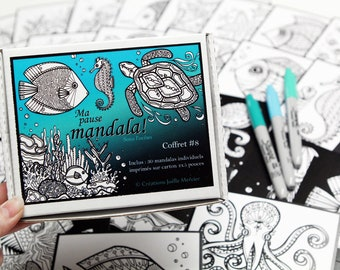Box #8 mandala break, special under the sea, included 30 small drawings to color every day