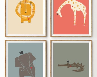 Baby Art Print. Set of 4. Royal Safari Yellow Sun by LittleLion Studio. Unframed. 8x10 inches. Baby Shower Gift. Mid-Century Colors