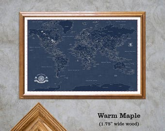 World Travel Map in Blueprint. Personalize Your Map, Framed 24x36 Foam Board, With a Set of Push Pins, Modern Political Geography. Map 402