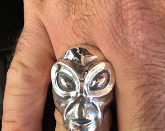Sterling silver alien skull ring. Made in the USA