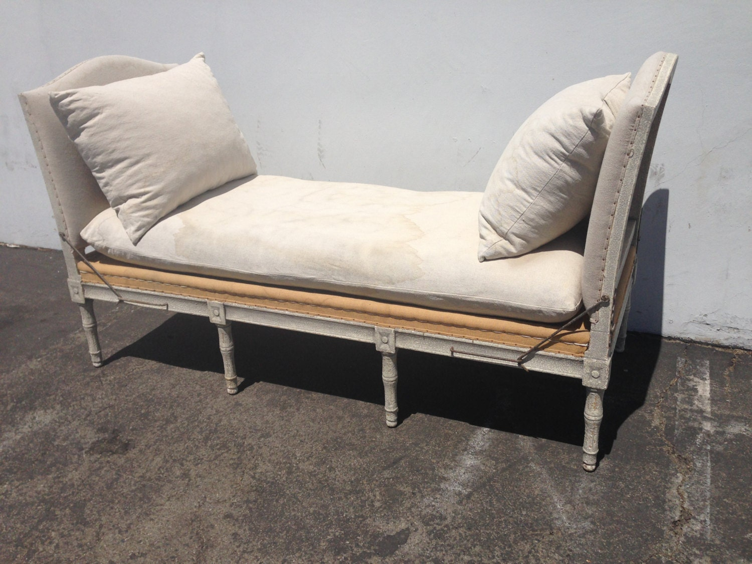 Country French Provincial Daybed Wood Woven France Linen
