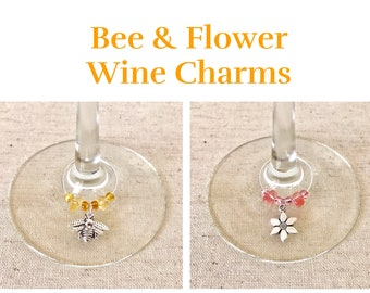 Bee & Flower Wine Charms