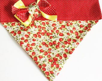 Red & Yellow Strawberry Floral Bandana for Dogs and Cats