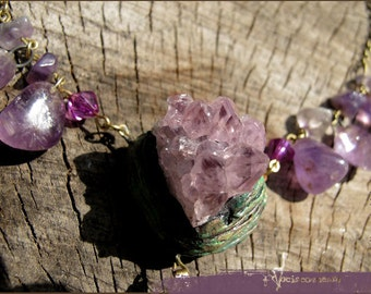 Crystal Memory Amethyst necklace dream amulet with amethyst cluster druzy and brass leaf  - faerie witch magic - handmade jewelry sculpt
