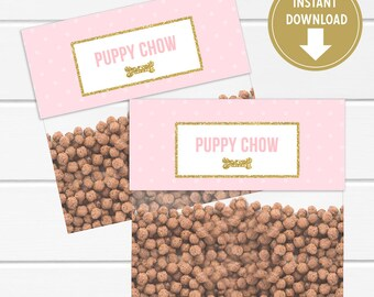Pink and Gold Glitter Puppy Chow Bag Toppers, Goodie bag labels, Treat Bags Tags, Puppy Birthday Party Decor - Instant Download