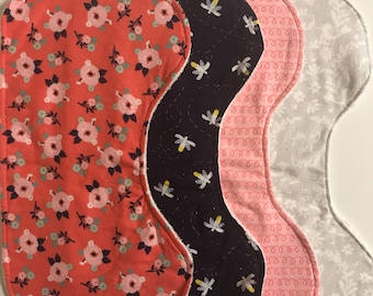 Set of 4 (Four) Burp Cloths, Pink and Navy Burp Rags