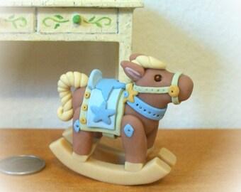 Blue Boy Rocking Horse Miniature Unique Sculpture 12th Scale Dollhouse Nursery Decor Childs Room Baby Decor