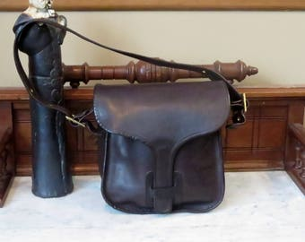 Etsy BDay Sale Coach Courier Pouch In Mocha Leather With Brass Hardware & Adjustable Strap- No 8920- Made In New York City - VGC