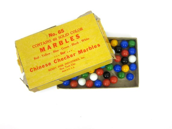 vintage Berry Pink Chinese Checker Marbles Blue Yellow Red Green Toy Marbles for display Book Shelf Decor GS