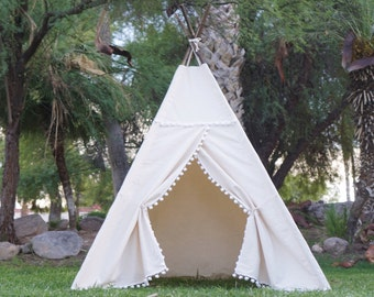 XL Pompom teepee, 8ft kids Teepee, large tipi, Play tent, wigwam or playhouse with canvas and Overlapping front doors