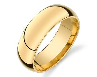 14k Yellow Gold Band (7mm) / PLAIN / Polished Rounded Dome + Comfort Fit / Men's Women's Wedding Ring