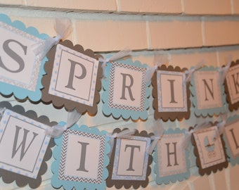 Sprinkled with Love banner - light blue and grey