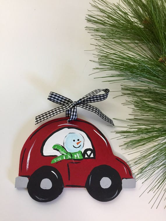 Personalized, hand painted, snowman christmas ornament,  Hand painted, red car ornament, christmas ornament, wood snowman ornament