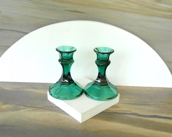 Candle sticks,Green glass Candle sticks Pair of 2 Vintage Green Candle Holder,