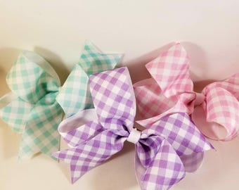 Pastel Gingham Classic Bow