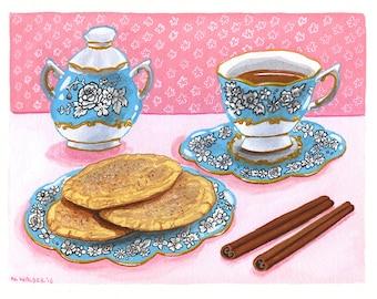 Original Art - Cookies and Tea, Blue Tea Set, Cinnamon Cookie