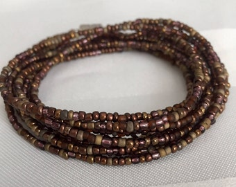 Tiny Seed Bead Multiwrap in Mahogany Mix - Tiny Seed Bead Jewelry - Multiwrap Bracelet - Multiwrap Necklace