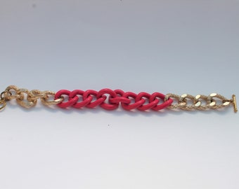 Gold and Pink Chain Bracelet