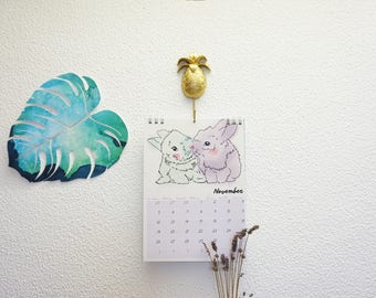 2019 Illustrated Calendar — wall decor gift with cute watercolor animals