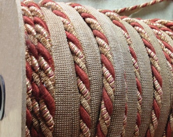 Rope Cord Trim with Lip - Cord with Lip - Multi Toned Pillow Cording - Chenille Rope Braid with Lip - 1 yard Rope Trim