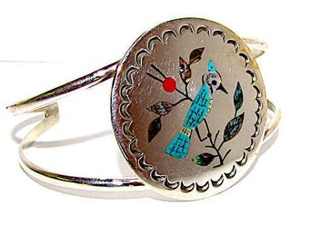 Native American Zuni Sterling Silver Stone Inlay Blue Jay Statement Cuff Bracelet by Collectible Raymond Boyd