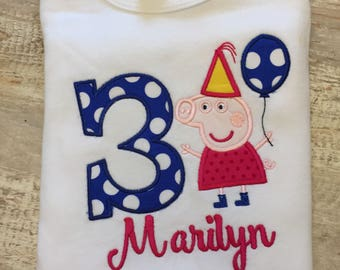 Pepa Pig Birthday Party Shirt, Applique Number, and Name included