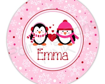 "Penguins Love Personalized 10"" Melamine Plate, 20 oz. Bowl or 2 Piece Set 