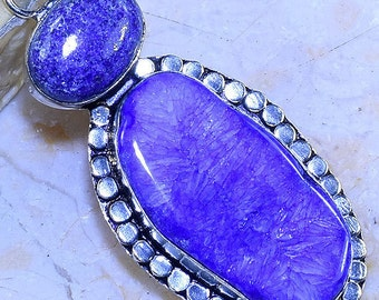 Royal Blue/ Agate Druzy/ with Lapis /Gemstone /Double Stack/ 925 Sterling Silver Pendant