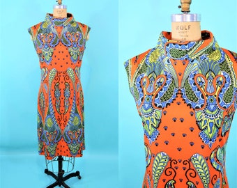 1960s filigree dress | AS IS orange blue green print shift dress | vintage 60s dress | B 38""