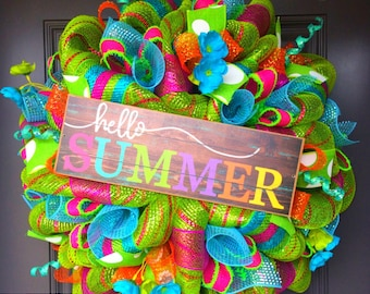 Summer wreath, wreath, deco mesh wreath, summer wreath, spring wreath, welcome wreath, front door wreath