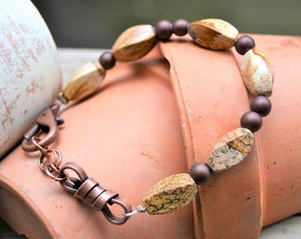 SCENIC JASPER Copper Bracelet with Mother of Pearl and Copper Charms