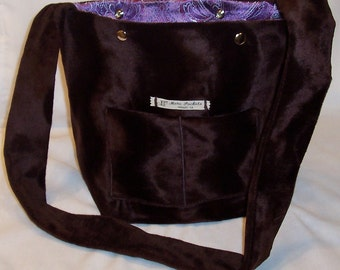 The Jeff Field Bag in Brown Faux fur with a purple paisley lining