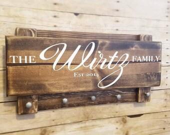 Family name sign,  custom name sign,  rustic key holder, stocking hanger, established date, stocking sign,  custom key hanger,  hook sign